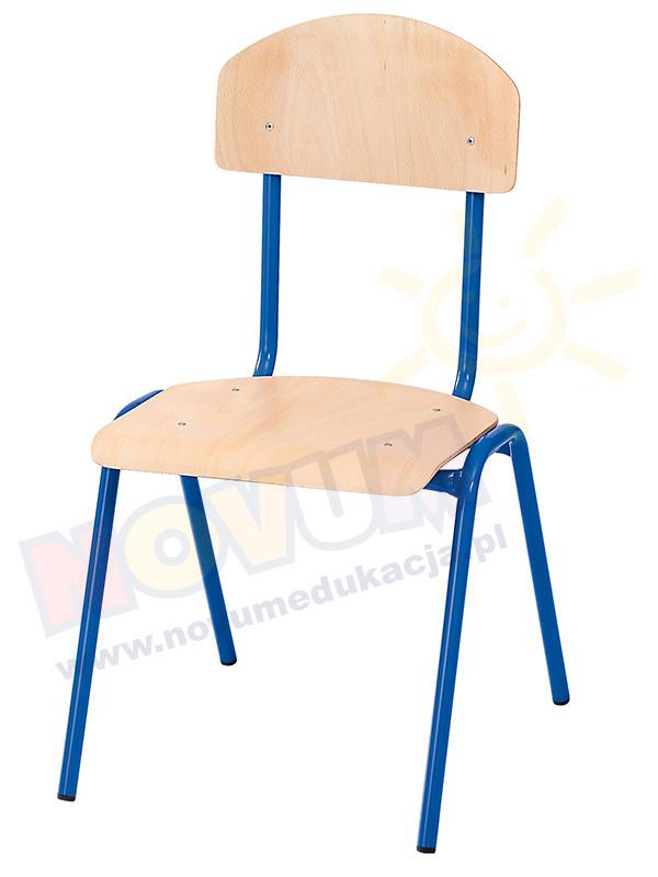 Krzesło NOVUM, wys. 38 cm, niebieskie z filcową zaślepką