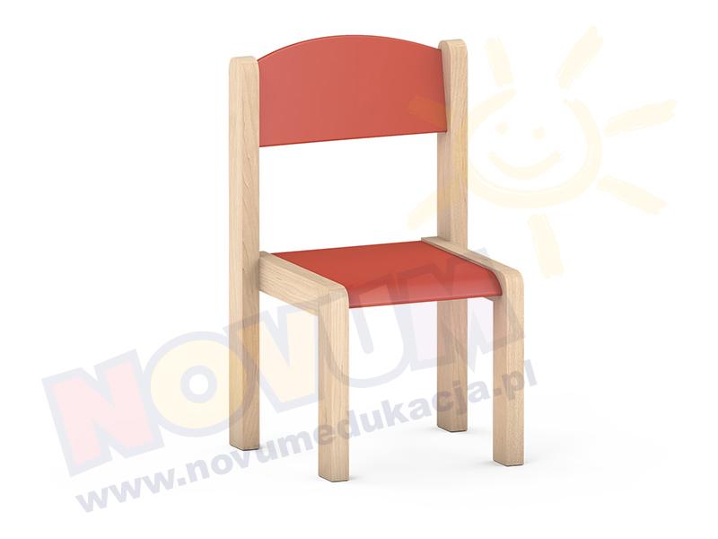 Krzesełko bukowe NOVUM wys. 31 cm  czerwone, z filcowymi zaślepkami