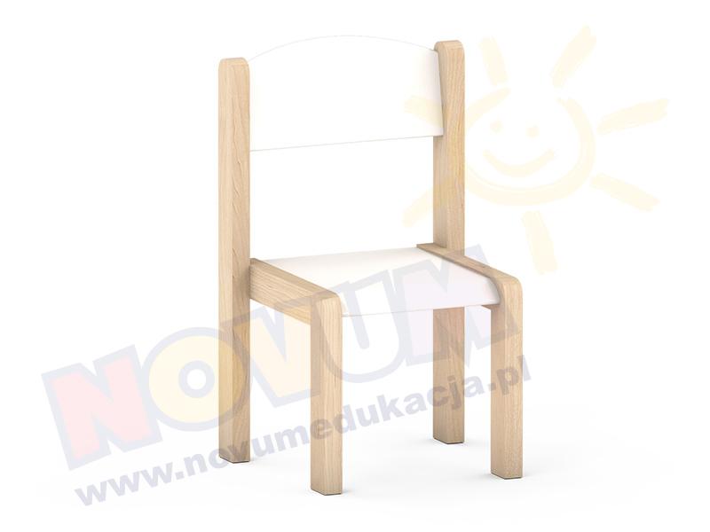 Krzesełko bukowe NOVUM wys. 35 cm białe, z filcowymi zaślepkami