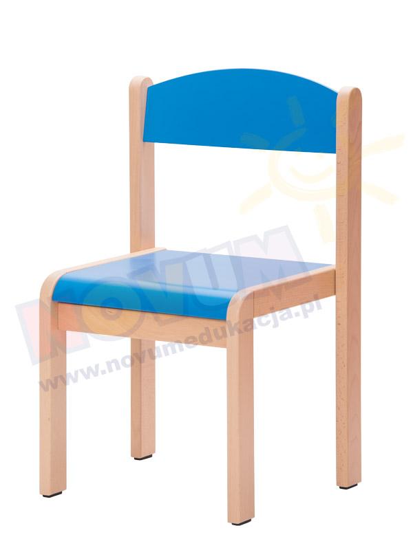 Krzesełko bukowe NOVUM wys.35 cm niebieskie, z filcowymi zaślepkami