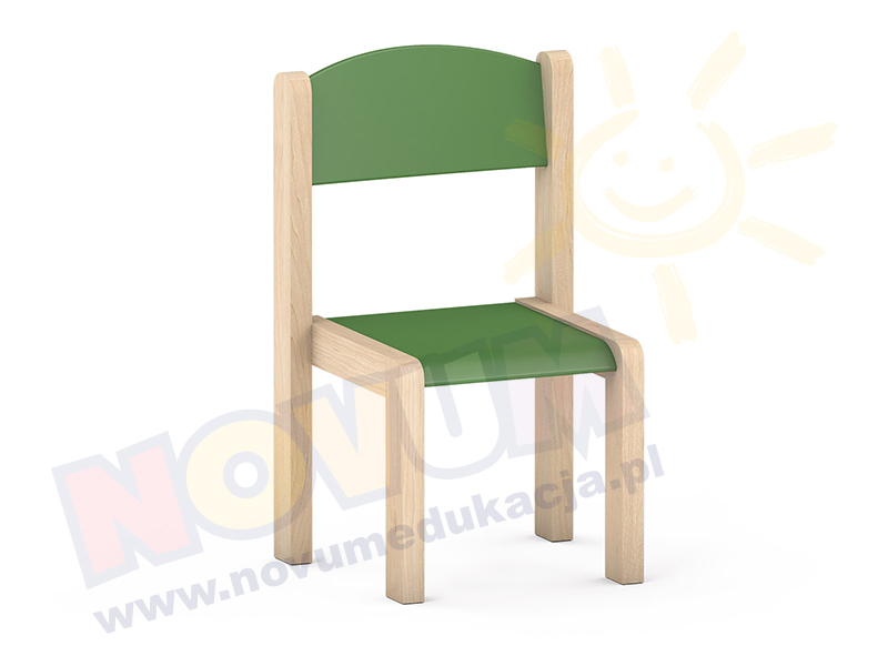 Krzesełko bukowe NOVUM wys.35 cm zielone, z filcowymi zaślepkami