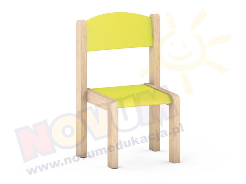 Krzesełko bukowe NOVUM wys. 35 cm limonka, z filcowymi zaślepkami
