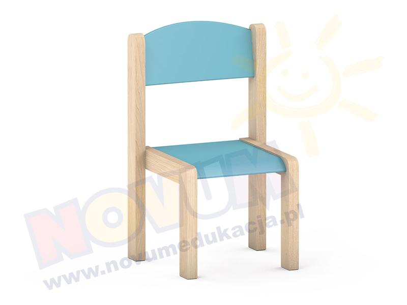 Krzesełko bukowe NOVUM wys. 35 cm jasnoniebieskie, z filcowymi zaślepkami