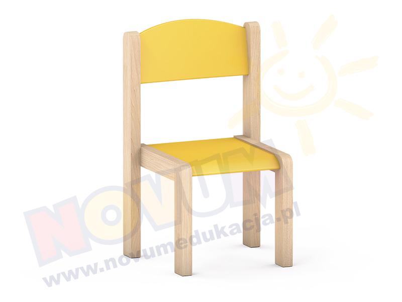 Krzesełko bukowe NOVUM wys. 26 cm żółty pastel, z filcowymi zaślepkami