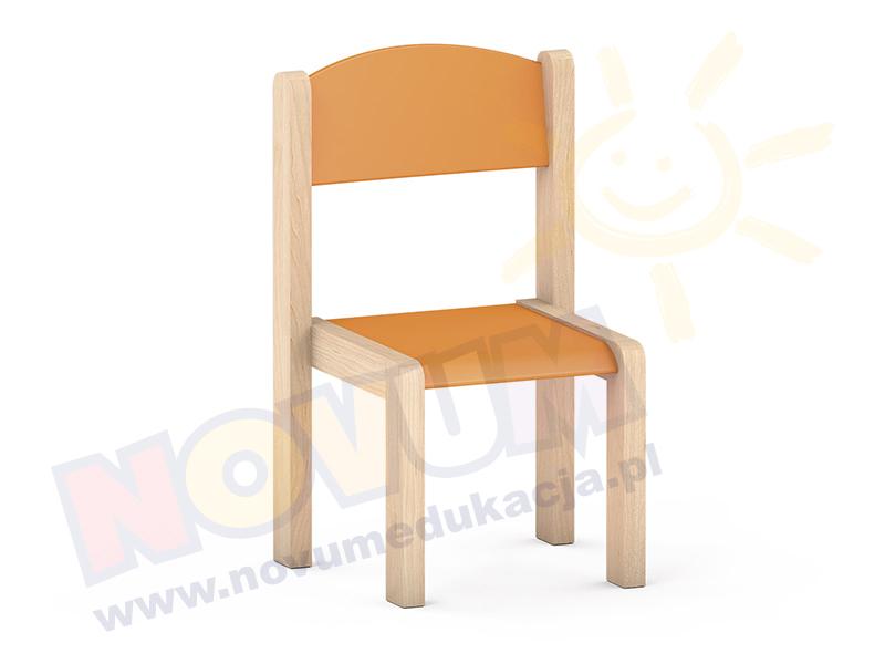 Krzesełko bukowe NOVUM wys. 26 cm pomarańczowe, z filcowymi zaślepkami