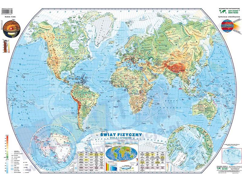 Mapa podręczna Świata fizyczna i polityczna